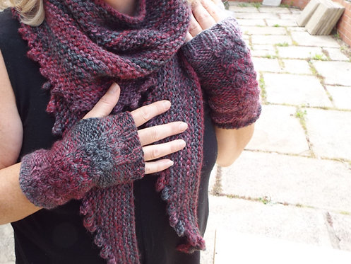 Marble Chunky Scarf & Mitts