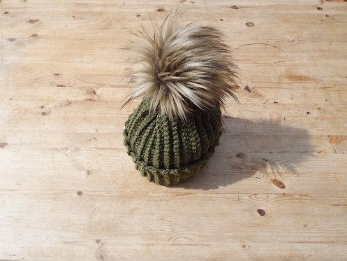 Chunky Rib Crochet Hat with Faux Fur Pom-Pom