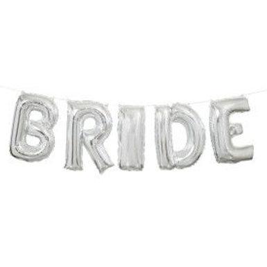 """Balloon Banner 14"""" Bride Silver"""