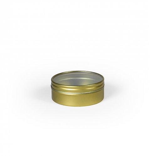 Metalen blikje rond goud - transparant deksel