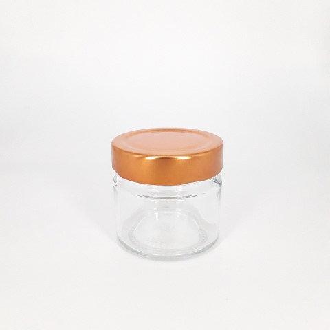 Glazen potje met schroefdeksel koper