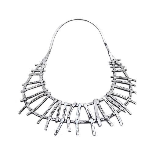 Collar corto TRIBAL - Reversible aluminio/plateado