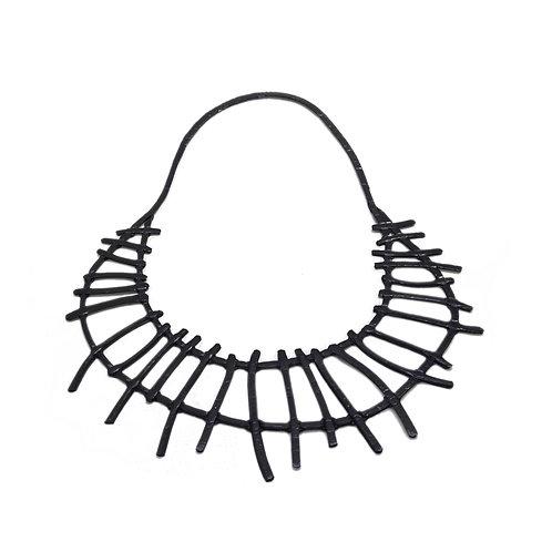 Collar corto TRIBAL - Reversible plateado/negro