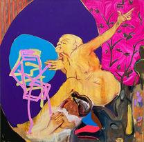 """die ex machina  oil on canvas 48"""" x 48""""  2021"""