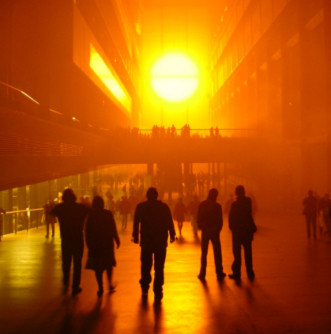 Fig. 1, Olafur Eliasson, The Weather Project, 2003. Turbine Hall at the Tate Modern (London).  (Image Source: David Firn, Flickr Commons)