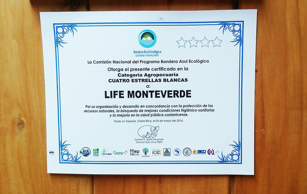 Certificado de Bandera Azúl Ecológica