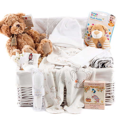 Wickers Just For Baby Deluxe Hamper- NEUTRAL