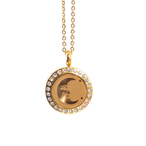 Mystical Moon | Aromatherapy Oil Diffuser Gold Necklace Locket with Pad