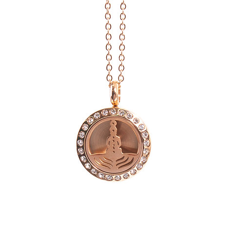 Seven Chakras | Aromatherapy Oil Diffuser Rose Gold Necklace Locket with Pad