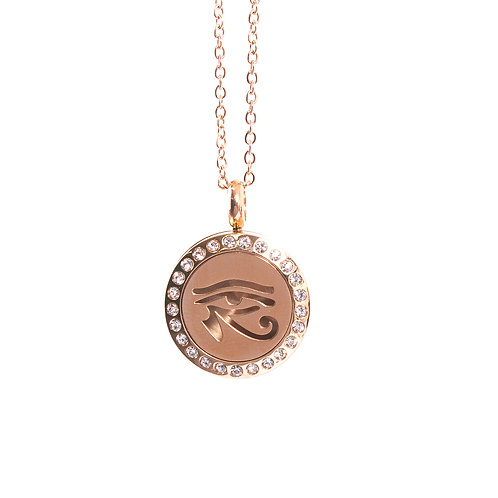 Eye of Horus | Aromatherapy Oil Diffuser Rose Gold Necklace Locket with Pad