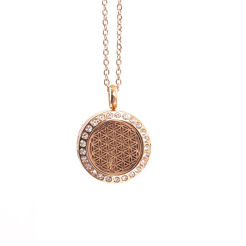Flower of Life | Aromatherapy Oil Diffuser Rose Gold Necklace Locket with Pad