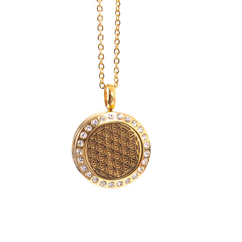 Flower of Life | Aromatherapy Oil Diffuser Gold Necklace Locket with Pad
