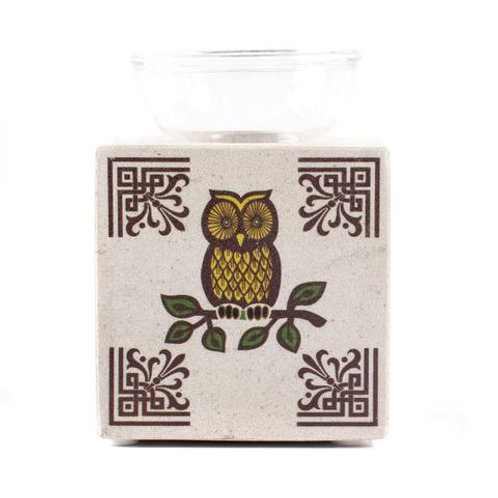 White Box Soapstone Oil Burner with Owl Design