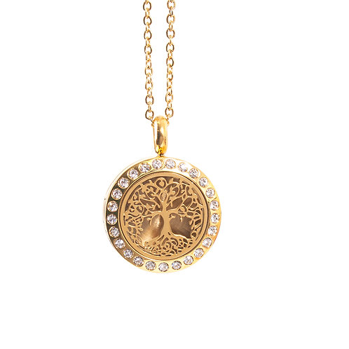 Tree of Life | Aromatherapy Oil Diffuser Gold Necklace Locket with Pad