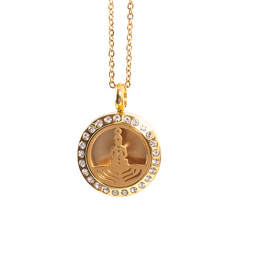 Seven Chakras | Aromatherapy Oil Diffuser Gold Necklace Locket with Pad