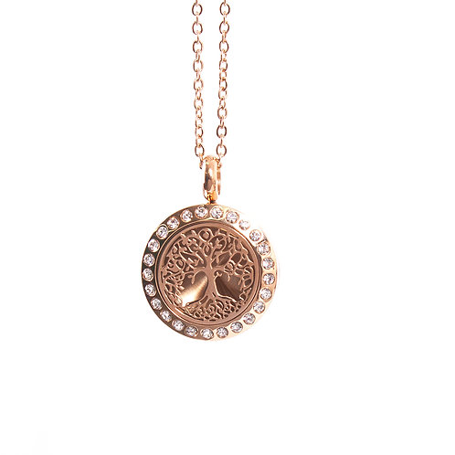 Tree of Life | Aromatherapy Oil Diffuser Rose Gold Necklace Locket with Pad