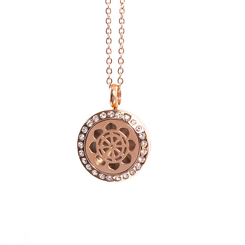 Dharma Wheel | Aromatherapy Oil Diffuser Rose Gold Necklace Locket with Pad