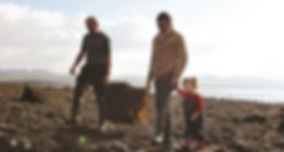 Mick and Neil Walto with daughter seaweed harvest