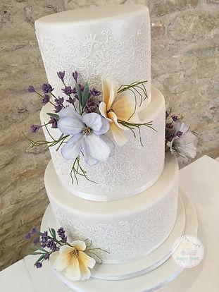 elegant white lace wedding cake - gloucestershire