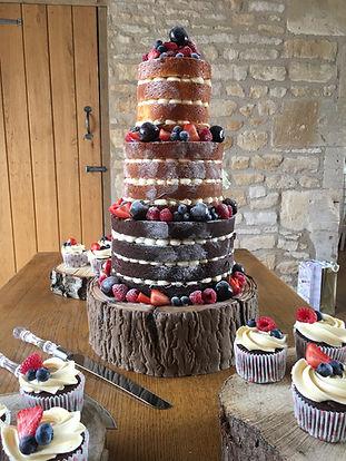 Naked cake - log effect cake -wedding
