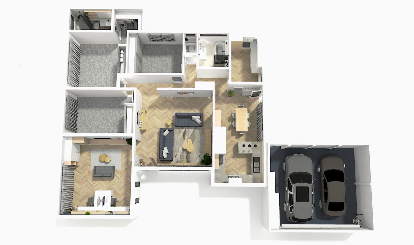 BENTLEIGH FULL HOUSE 3D RENDER FLOORPLAN