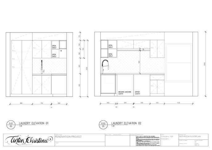Laundry Elevation CAD Drawing