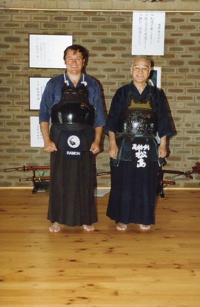 Matsushima Sensei and Ramon, 1989 Kendo
