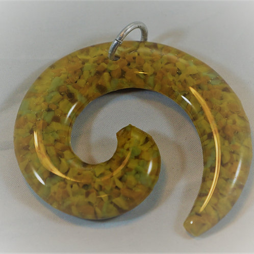 Yellow Hue fused Glass Spiral Pendant