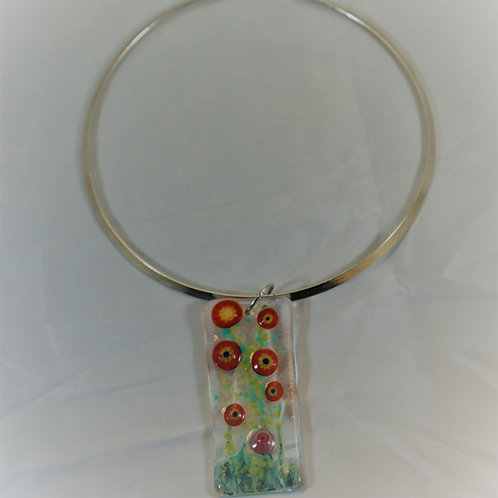 Red Summer Garden Fused Glass Pendant