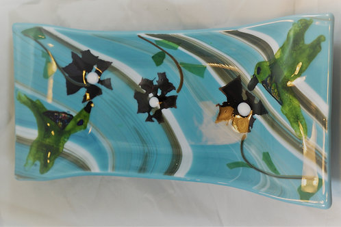 Fused Glass Hummingbird Dish in Blues
