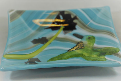 Small Fused Glass Hummingbird Dish
