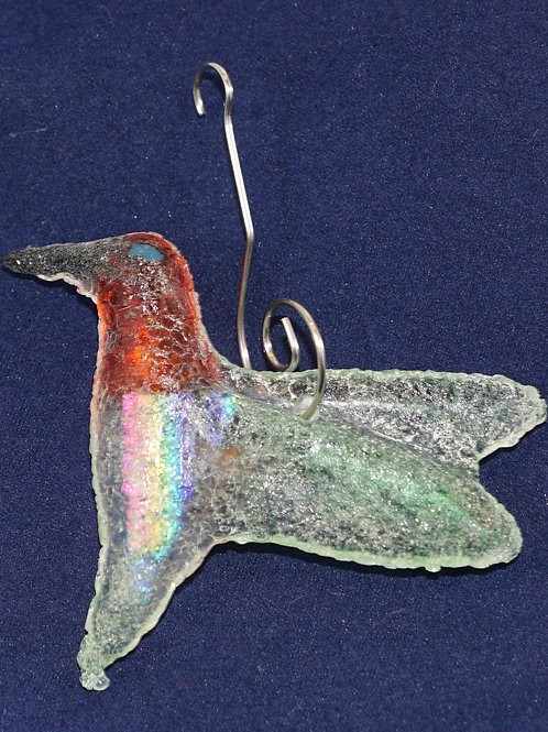 Red Headed fused Glass Hummingbird