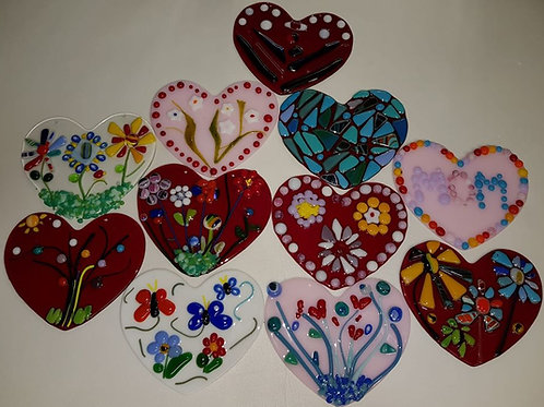 Fused glass heart workshop
