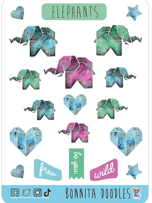 Origami Elephant sticker sheet