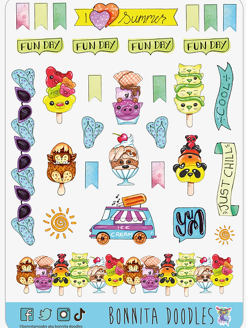 I LOVE Summer Sticker sheet