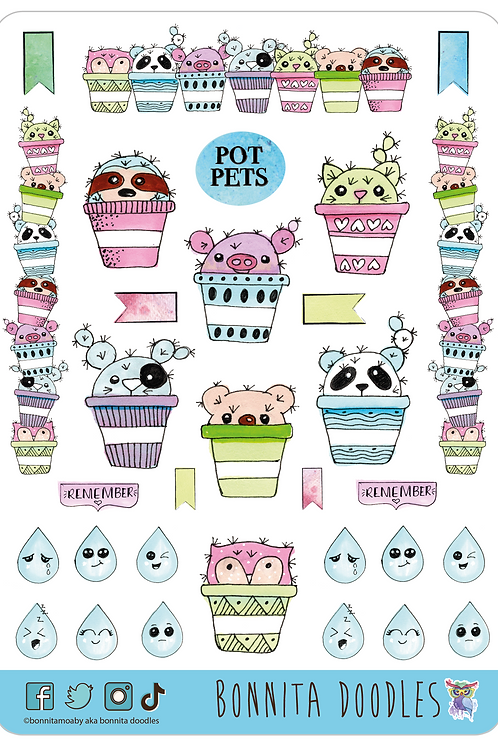 Pot Pets sticker sheet