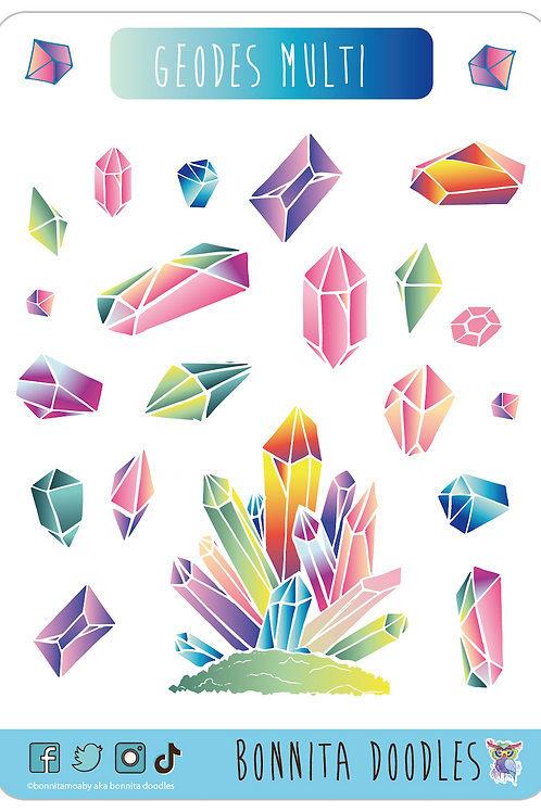 Geodes sticker sheet