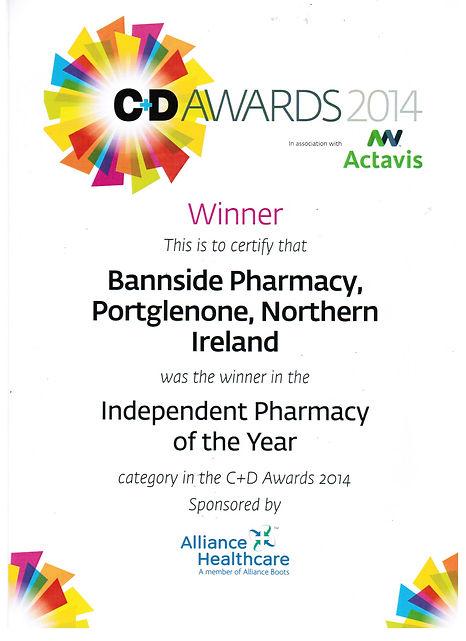 C&D Award Certificate Independent Pharma