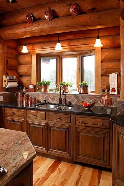 Lake House Log Cabin Kitchen