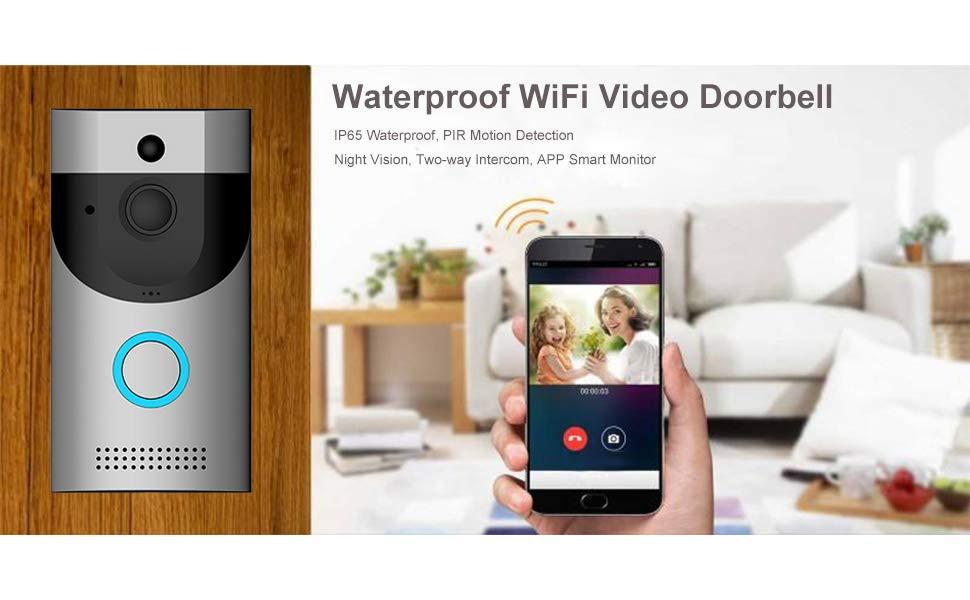 WiFi Wireless Video Doorbell Camera, IP65 Waterproof Doorbell 720P