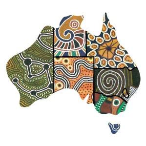 Indigenous art in shape of Australia