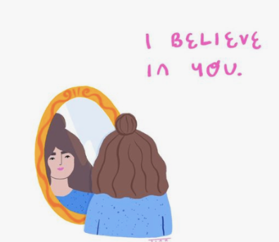 Girl saying affirmations of self love and self belief to reflection