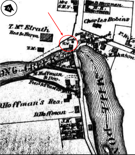 The Asbury Mill, in red circle, From Hunter Research, Beers Map of Asbury, 1874.