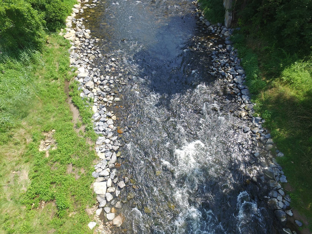 Aerial footage of the Musconetcong River at the former Hughesville Dam site.