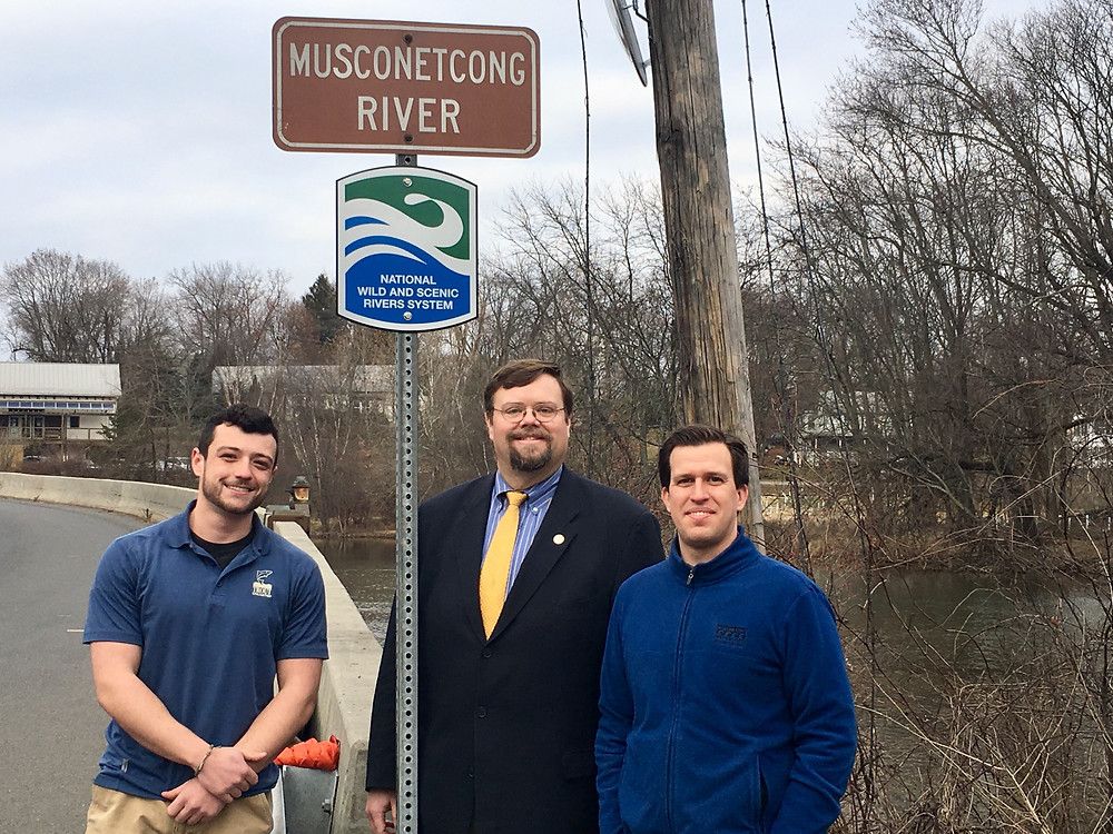 From left to right: Cole Baldino, Trout Unlimited; Paul Muir, Bethlehem Township; Alan Hunt, Musconetcong Watershed Association