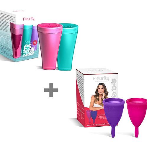 Kit Coletor Menstrual duplo tipo 1 Fleurity + 2 Copos Esterilizadores - Até 3x