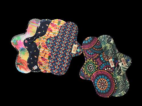 Kit Absorventes de Pano Reutilizáveis  - 4 Normais e 2 Noturnos