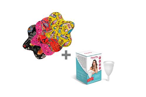 Kit Coletor Menstrual individual tipo 2 Fleurity + 4 Absorventes Mini Circulare