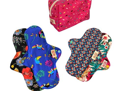 Kit Absorventes de Pano Fluxo Intenso + Necessaire tecido impermeável - Até 3X