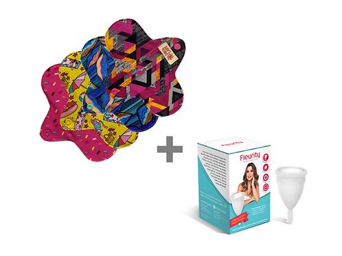 Kit Coletor Menstrual individual tipo 1 Fleurity + 4 Absorventes Mini Circulare